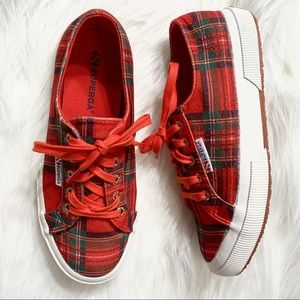 Superga Red Tartan Plaid Flannel Sneakers